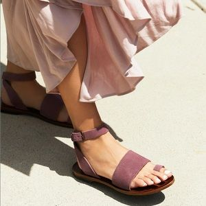 Free People Torrence Flat Suede Leather Sandals